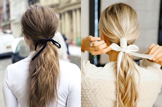 Ruy băng trơn màu chất nhung, satin... có khả năng tăng điểm duyên dáng cho mái tóc trong một nốt nhạc.