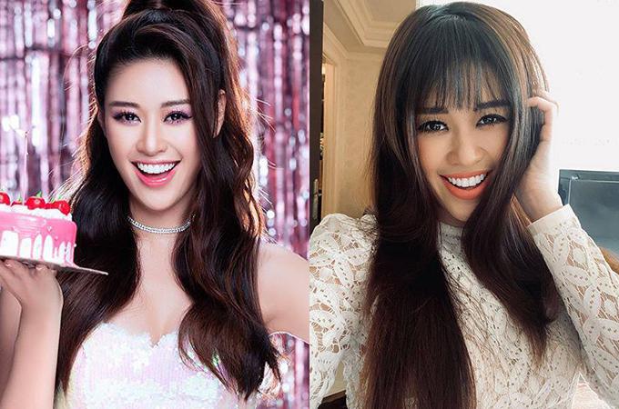 Từ khi đăng quang đến nay, Khánh Vân trung thành với tóc mái dài, giúp cô khoe trọn vẹn đường nét gương mặt. Khi cắt tóc mái, người đẹp sinh năm 1995 làm che mất vầng trán cao nên trông nặng nề.