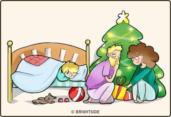 <p> Bạn biết thừa những lần bố mẹ lén để quà dưới gốc cây thông, nhưng lần nào cũng vờ hạnh phúc vì được ông già Noel tặng quà.</p>