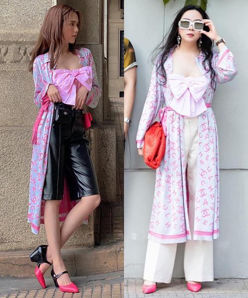 Trong khi Ngọc Trinh chọn quần da cá tính và túi màu tông xuyệt tông, thì Phượng Chanel lại phá cách với túi cầm tay màu đỏ. Món phụ kiện này có phần chọi màu với tổng thể, làm set đồ khá đẹp mắt bỗng lạc quẻ.