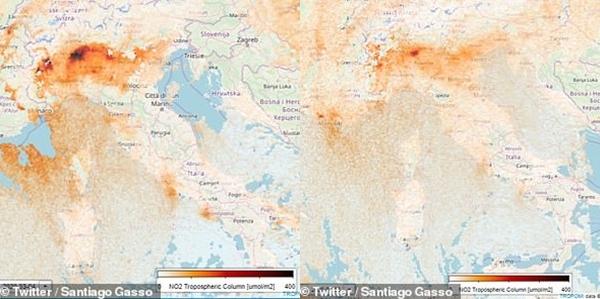 Mức độ khí NO2 tại miền bắc Italy đã giảm sau 3 tuần, từ 14/2 đến 8/3.