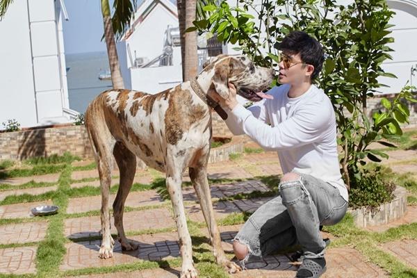 Nathan Lee chơi với cún cưng giết thời gian mùa dịch.