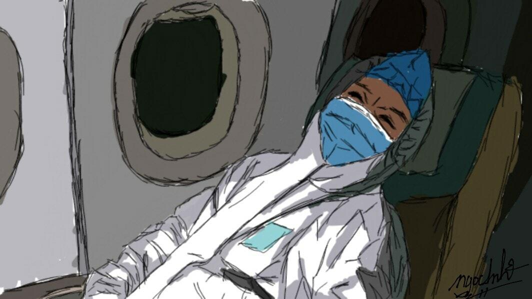 Một bác sĩ ngủ thiếp đi vì kiệt sức.Tranh: Ngọc Anh