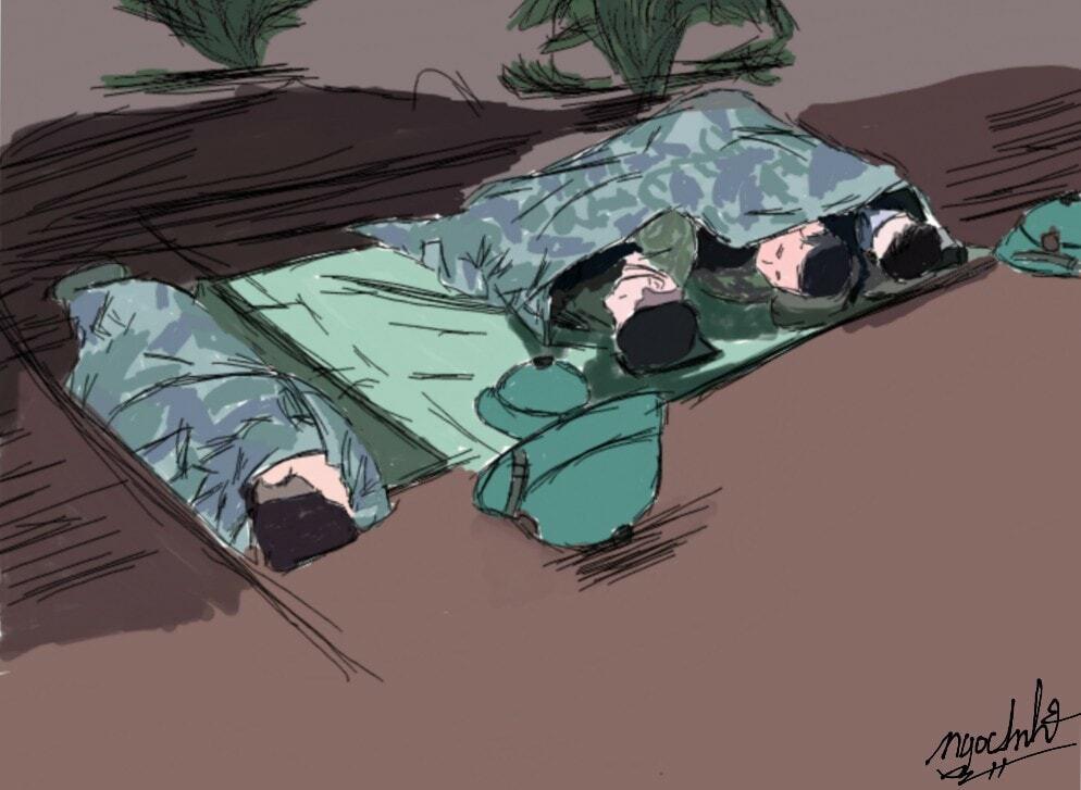 Cán bộ chiến sĩ ngường chỗ ở thành nơi cách ly.Tranh: Ngọc Anh