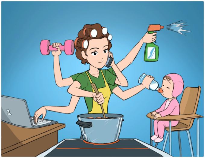 <p>Họ có thể một lúc làmmọi thứ: giải quyết công việc, chăm sóc gia đình, dọn dẹp, nấu cơm...</p>