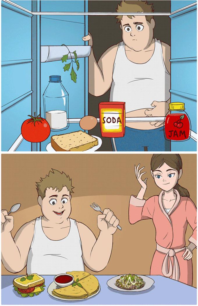 """<p>Dù trong tủ chỉ còn ít đồ ăn, họ vẫn có thể """"biến ra"""" một bữa ăn thịnh soạn, đầy đủ dinh dưỡng.</p>"""