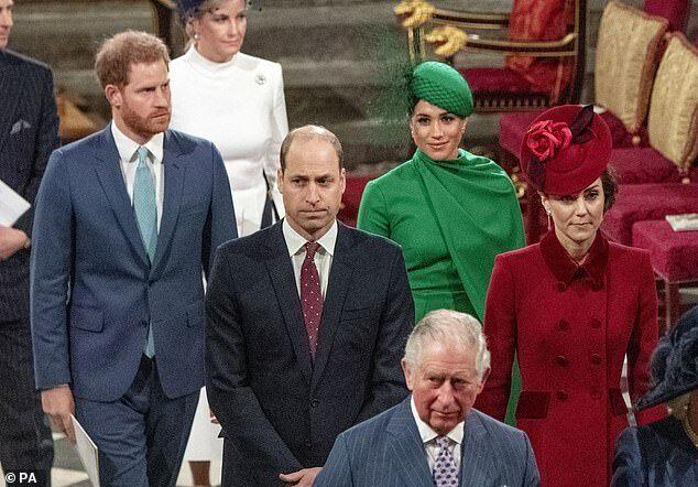 Công tước, nữ công tước xứ Sussex, vợ chồng Hoàng tử William, Harry và Thái tử Charles trong buổi lễ tại Tu viện Westminster ngày 9/3.