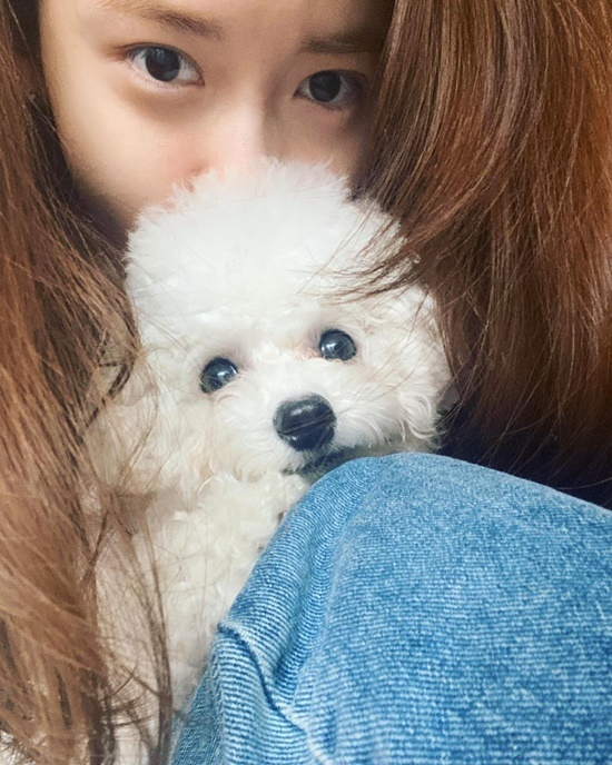 Yoona và cún cưng đều có đôi mắt tròn đen láy.
