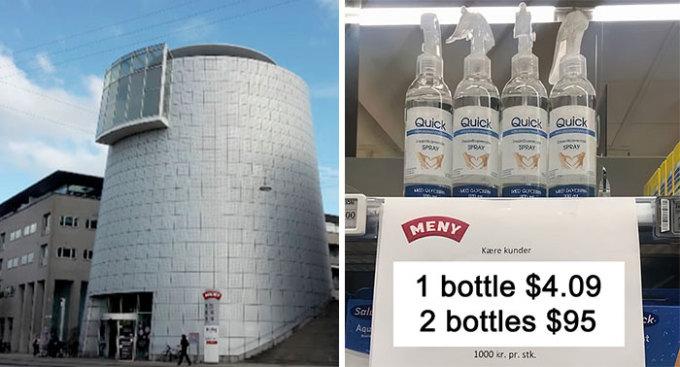 """<p class=""""Normal"""">Để hạn chế việc tích trữ đồ không cần thiết, một siêu thị tại Đan Mạch quyết tung chiêu """"độc"""": Mua 1 chai nước rửa tay giá 4.09 USD, 2 chai giá 95 USD - tăng gấp 23 lần.</p>"""