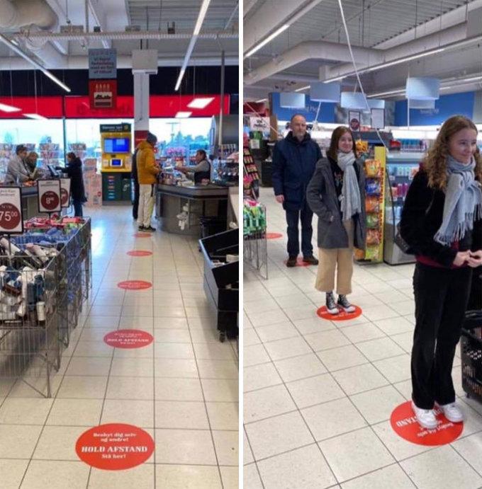 """<p class=""""Normal""""><span><span>Giải pháp giãn cách xã hội khi xếp hàng trong siêu thị Đan Mạch.</span></span></p>"""