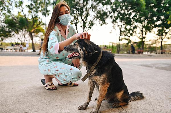 Võ Hoàng Yến luôn nhìn thấy một chú chó, không rõ của ai nhưng lúc nào cũng trong tình trạng đói. Mỗi khi xuống sân, cô đều tìm đến chú chó này để chơi cùng. Trưa 25/3, cô cùng một người bạn dồn cơm thừa vào hộp, trộn đều, mang cho chú chó ăn.