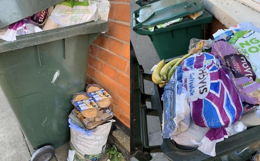 Nhiều người đổ xô tích trữ đồ ăn sau đó... vứt vào thùng rác