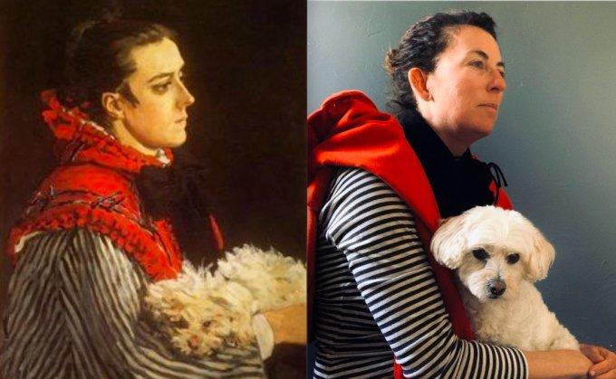 """<p class=""""Normal""""><span><span><span><span lang=""""en-us"""" xml:lang=""""en-us""""><span><span>Người dùng Twitter dựng lại tác phẩm <em>Camille with a Small Dog</em> của Monet với sự tương đồng bất ngờ.</span></span></span></span></span></span></p>"""