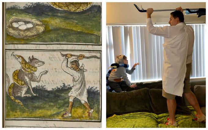 """<p class=""""Normal"""">Hai bố con cảm thấy bí bách khi ở nhà quá lâu và họtự chơi với nhau bằng cách """"cosplay""""bức tranh này.</p>"""