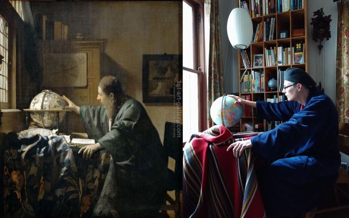 """<p class=""""Normal"""">Bức họa<em>The Astronomer</em>được """"hiện đại hóa"""" theo cách ấn tượng.</p>"""