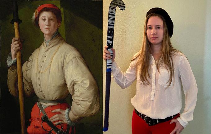 """<p class=""""Normal"""">Tác phẩm <em>Portrait of a Halberdier </em>của Pontormo được tái tạo đầy thú vị, khi cô gái thay thế chiếc thương bằng gậy khúc côn cầu.</p>"""