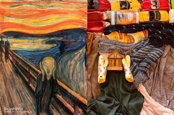 """<p class=""""Normal""""><span><span><span><span lang=""""en-us"""" xml:lang=""""en-us""""><span><span>Bức họa <em>The Scream </em>nổi tiếng của Edvard Munch phiên bản hiện đại được tạo nên bởi tất, găng tay làm bếp, xe đồ chơi, quần áo, và một ngôi nhà minikhá phù hợp.</span></span></span></span></span></span></p>"""