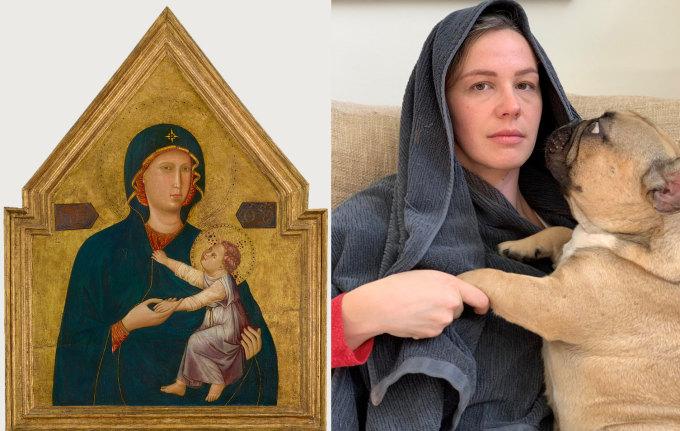 """<p class=""""Normal""""><span><span><span><span lang=""""en-us"""" xml:lang=""""en-us""""><span><span>Đăng bức ảnh này lên tài khoản chính thức, bảo tàng Getty bình luận: """"Điều chúng tôi thích hơn bức tranh <em>Madonna and Child</em> của Master of St. Cecilia chính là sự giải trí của người này"""".</span></span></span></span></span></span></p>"""