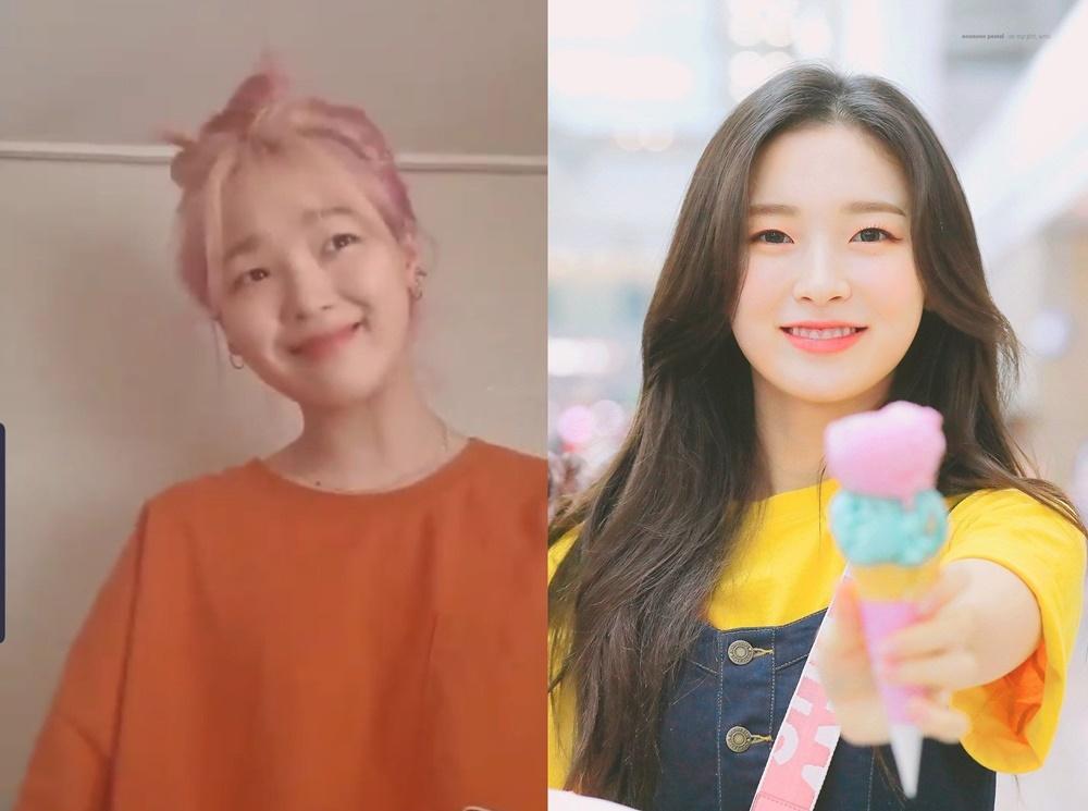 Seung Hee bắt chước điệu bộ của em út Arin qua  nụ cười mỉm ngọt ngào và tạo cả nét cười nhẹ nhàng trên khóe mắt.