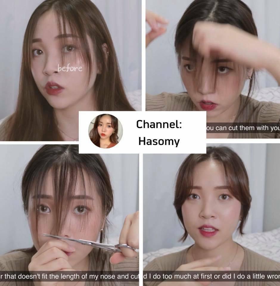 Ngay cả khi rẽ mái giữa, bạn vẫn có thể tự tạo kiểu tóc mái. Vlogger Hasomy cắt tóc mái dài, tạo kiểu ôm vào gương mặt với độ cong nhẹ. Đây cũng là kiểu tóc mái được con gái Hàn ưa chuộng thời gian qua.