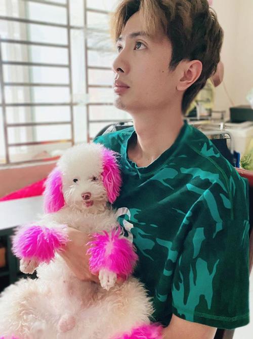 Huỳnh Phương bế chú chó cưng nhuộm lông hồng rất cute.