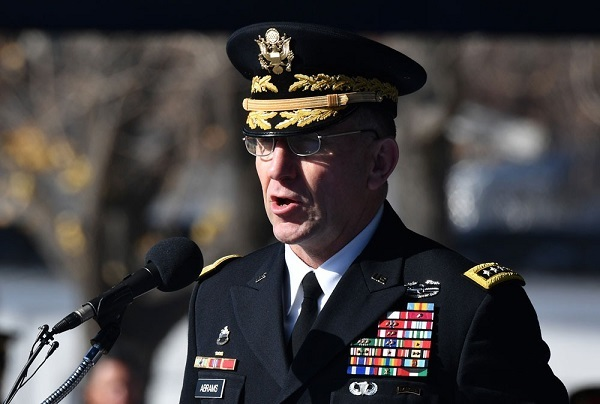In this file photo, US General Robert B. Abrams, commander of the United Nations Command, US Forces Korea and Combined Forces Command, speaks at a US Army base in Seoul on November 20, 2018. Jung Yeon-je/AFP/Getty Images