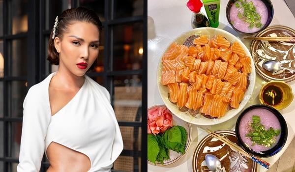 Minh Triệu ăn cá hồi Nhật Bản kèm tương, washabi, gừng ngâm và lá tía tô. Cô cũng nấu canh khoai mỡ kèm tôm.