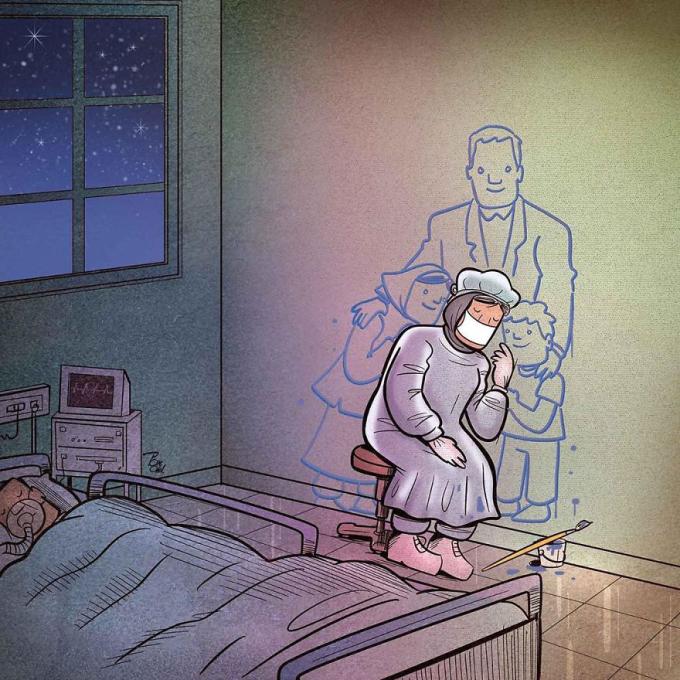 """<p>Trong cuộc chiến chống Covid-19, những y bác sĩ phải rời xa gia đình,người thân yêuđể cùng các đồng nghiệp cứu chữa người bệnh. Đã từ lâu, họ dần quên mất """"mùi vị"""" của gia đình.</p>"""