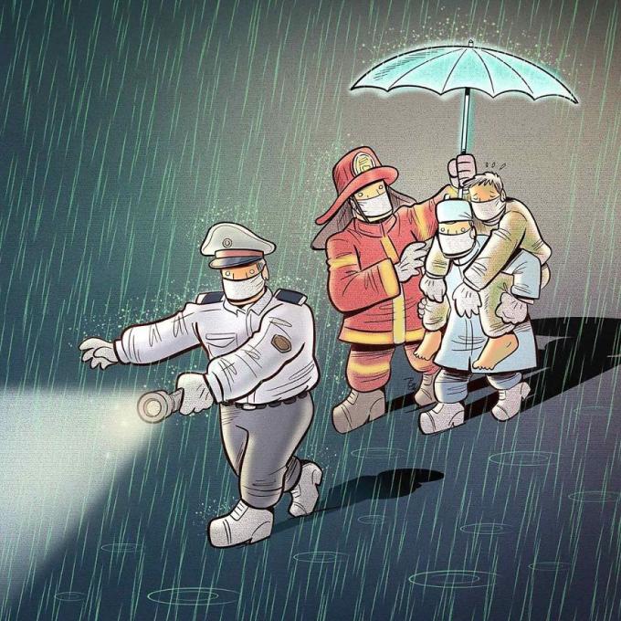 <p>Không chỉ đội ngũ y bác sĩ, công an, cảnh sát, lính cứu hoả cũng đang ngày đêm làm việc không ngừng nghỉ...</p>
