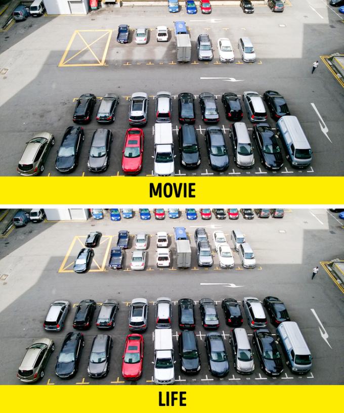 <p><strong>Luôn có chỗ đỗ xe ngay gần điểm đến</strong></p>  <p>Dù sống ở thành phố hiện đại đông đúc, họ vẫn dễ dàng tìm thấy một chỗ trống ở bãi đỗ xe miễn phí. Tất nhiên rồi, đạo diễn không muốn bắt người xem đợi 30 phút để tranh cãi và tìm chỗ cất xe.</p>