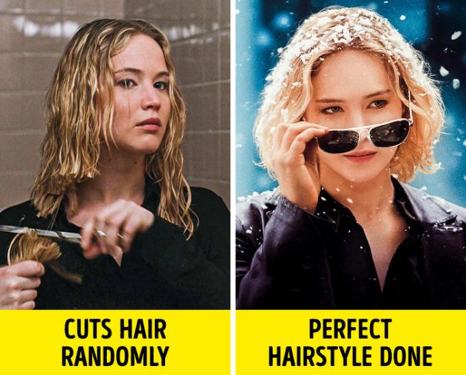 <p><strong>Cắt tóc sương sương mà trông như người mẫu</strong></p>  <p>Khi nhân vật nữ muốn vượt qua một cú sốc hoặc thay đổi ngoại hình, họ chỉ cần một cây kéo và một cái gương, vài phút sau có ngay bộ tóc mới sành điệu như được tạo kiểu ngoài salon. Còn ngoài đời, bạn biết chuyện gì sẽ xảy ra khi bạn tự cắt mái rồi đấy.</p>