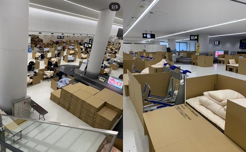 Những khách sạn bìa các tông tại sảnh nhận hành lý ở sân bay Narita. Ảnh: @kakuzi01282000/Instagram.