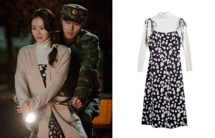 Trong phim Hạ cánh nơi anh, chị đẹp Son Ye Jin cũng lăng xê mẫu váy hoa trắng nền đen xinh xắn, biến món đồ thành item phải có của các cô gái.