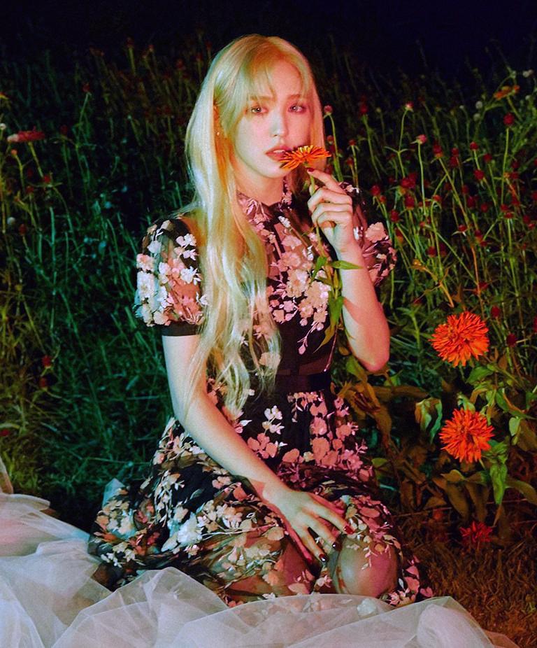 Trong khi đó, Wendy (Red Velvet) lại đầy ma mị khi diện item này, cô nàng gây ấn tượng với mái tóc vàng thơ mộng.
