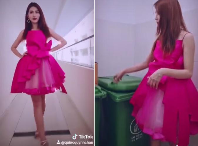 Quỳnh Châu tiết lộ bộ đầm dạ hội như búp bê được cô chuẩn bị để dự một event, đó là... ra nhà để rác của chung cư.