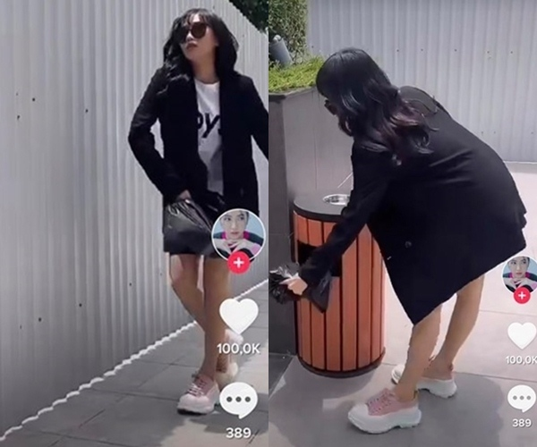 Diệu Nhi đội tóc giả, mặc đồ ngầu hết cỡ, xỏ giày 17 triệu đồng để cho bằng chị bằng em khi ra khỏi nhà để đổ rác.