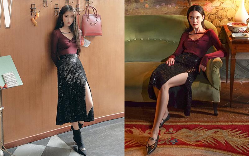 Thường xuyên đụng độ cùng Mai Davika - đại sứ của Gucci ở thị trường Thái Lan - IU luôn mang đến vẻ ngoài khác biệt. Trong khi ma nữ đẹp nhất xứ chùa vàng trông rất quyến rũ, đẳng cấp thì IU luôn toát lên nét trong trẻo, ngây thơ.