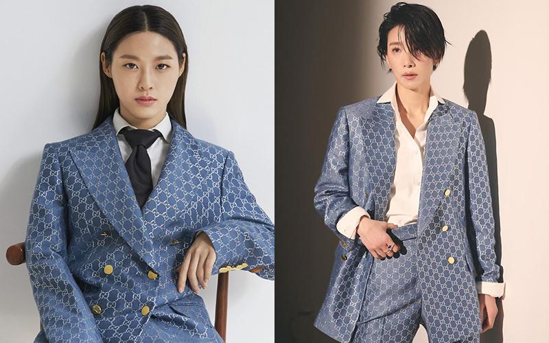 Diện chung bộ suit xanhgiá lên tới 6.330 USD với nhiều nghệ sĩ như Davika, Seol Hyun, Kim Seo Hyung..., IU bị nhận xét là giống mượn đồ của mẹ.