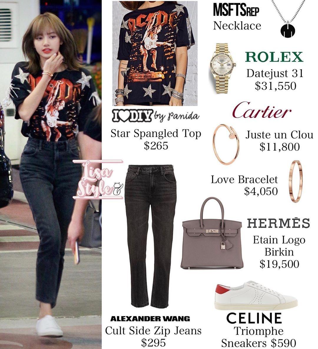 Mặc áo phông, quần jeans ra sân bay như sinh viên, ít ai nghĩ bộ trang sức đi kèm của người đẹp giá tới hơn 1 tỷ đồng, chưa kể chiếc túi Hermes gần 500 triệu đồng.