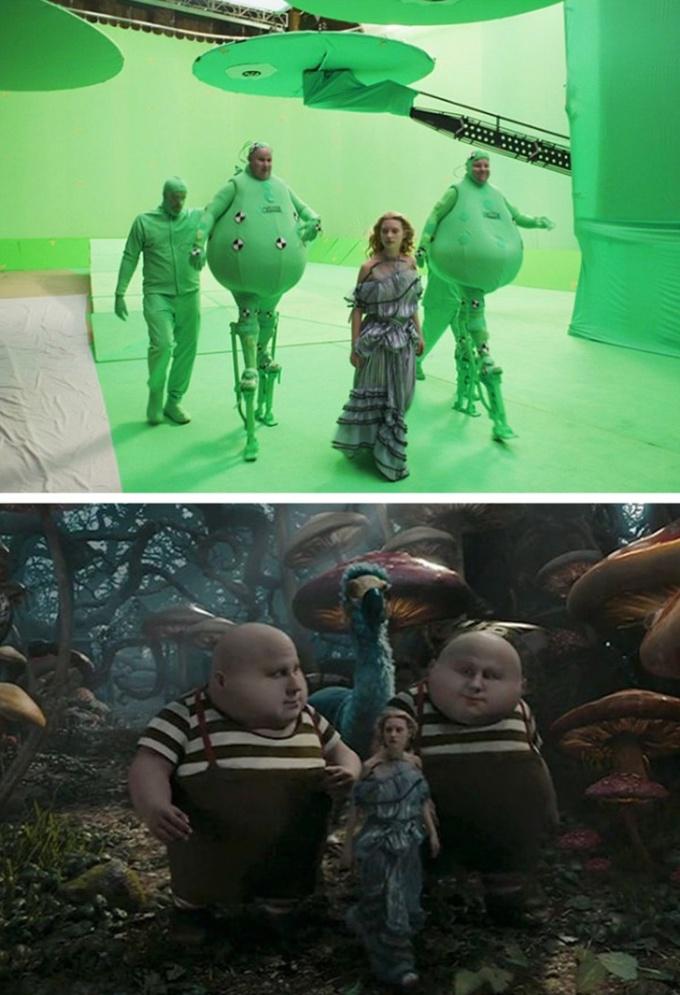 <p>Xứ sở thần tiên của phim<em> Alice in Wonderland</em> chỉ toàn phông xanh.</p>