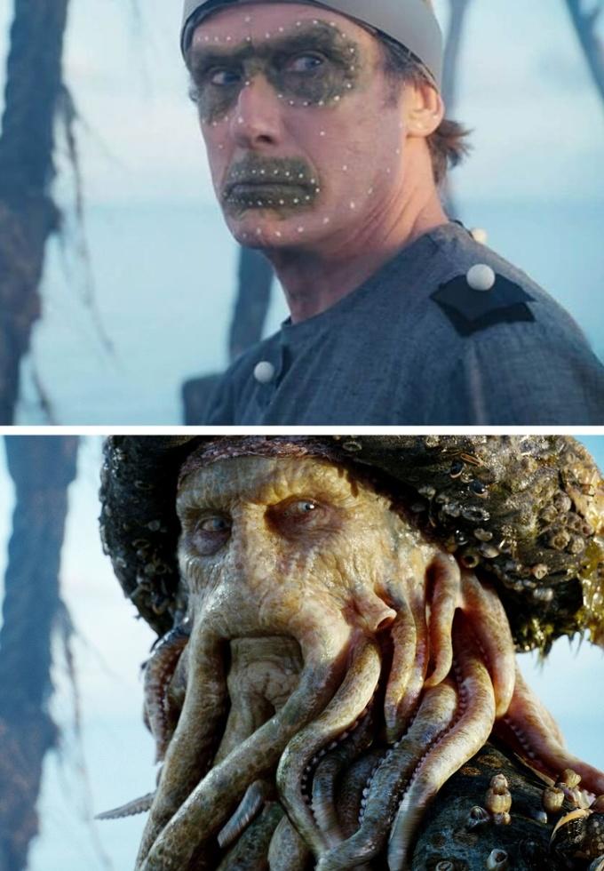 <p>Gã cướp biển nổi tiếng Davy Jones trong <em>Pirates of The Caribbean </em>khi chưa được biến hóa bằng kỹ xảo.</p>