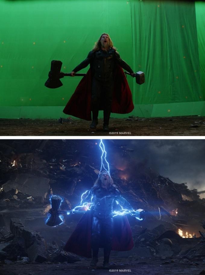 """<p>Thor """"béo"""" trước và sau khi thêm hiệu ứng sấm sét trong <em>Avengers: Endgame.</em></p>"""