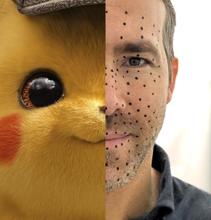 <p>Ryan Reynolds phải chấm nốt đầy mặt để ghi chuyển động cho nhân vật Pikachu do anh lồng tiếng trong <em>Detective Pikachu</em>.</p>