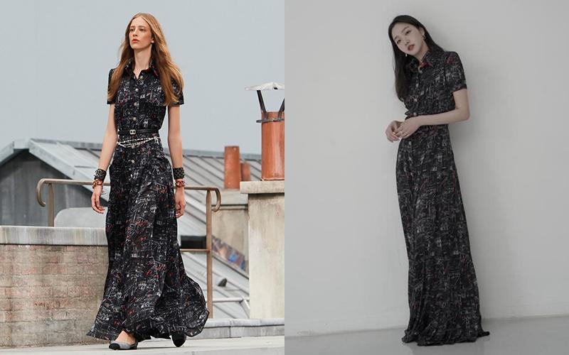 Có chiều cao không thua người mẫu, Kim Go Eun mặc chiếc váy Xuân Hè 2020 giá lên tới 12.550 USD (gần 300 triệu đồng) đầy thanh lịch.