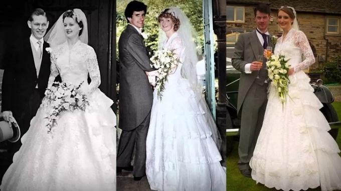 """<p class=""""Normal"""">Bà tôi năm 1959, mẹ tôi 25 năm sau, và tôi25 năm sau. Điều đặc biệt là chúng tôimặc váy cưới giống hệt nhau.</p>"""
