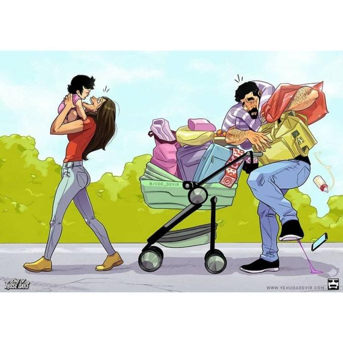 <p>Bố luôn là chân sai vặt của hai mẹ con.</p>