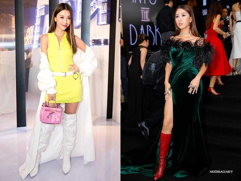 Từ khi đổi sang phong cách táo bạo giống các cô gái Âu Mỹ, Quỳnh Anh Shyn cũng nhiều lần gây tranh cãi vì những bộ đồ mix khó hiểu. Hot girl có thói quen sử dụng boots cổ cao mọi lúc mọi nơi, từ ra phố cho đến lên thảm đỏ. Những thiết kế lùng bùng giấu dáng khiến Quỳnh Anh Shyn trông thấp hơn nhiều so với chiều cao thực là 1,68 m.