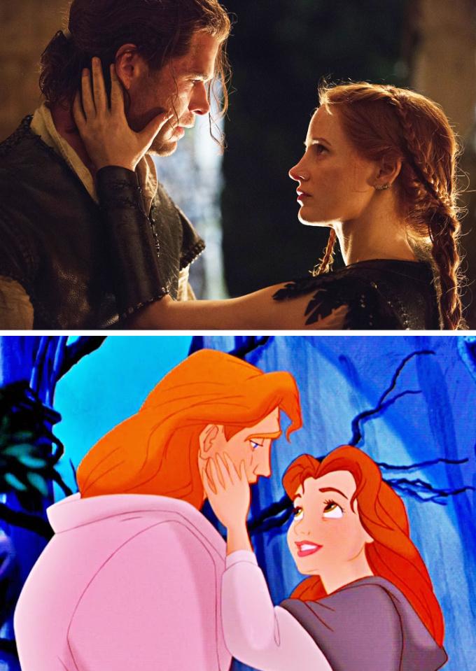 <p>Chris Hemsworth, Jessica Chastain nhìn nhau âu yếm như hoàng tử Adam và Belle trong <em>The Beauty and the Beast</em>.</p>