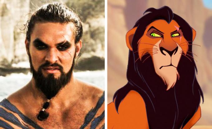 <p>Vết sẹo trên lông mày và ánh mắt dữ dằncủa Jason Momoa gợi liên tưởng đến Scar trong<em> The Lion King</em>.</p>