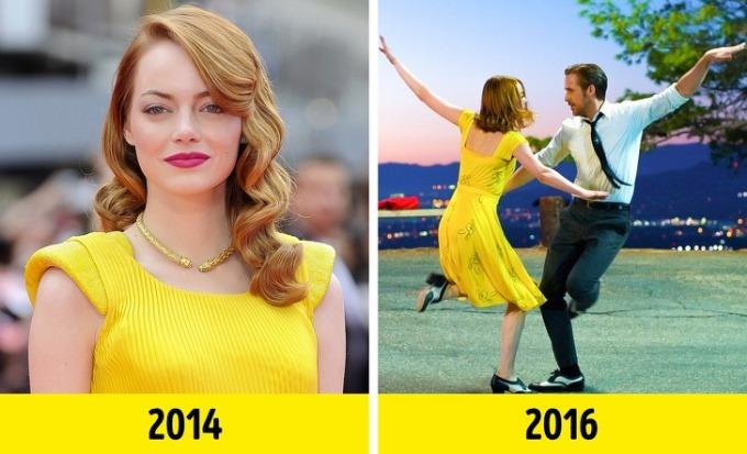 <p>Cảnh biểu tượng nhất của <em>La La Land</em> là khi Mia khiêu vũ với Sebastian dưới ánh hoàng hôn, nhân vật của Emma Stone mặc chiếc váy màu vàng sáng, Chính Emma đã truyền cảm hứng cho nhà thiết kế trang phục tạo ra chiếc váy này. Năm 2014, cô mặc bộ đầm tương tự trong buổi ra mắt phim <em>The Amazing Spider-Man</em>.</p>